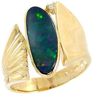 1.45ct Boulder Opal .02dia bypass band ring