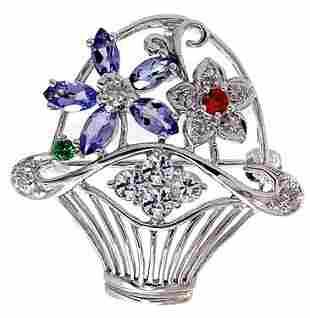 Wg Tanzanite Tsavorite Ruby Dia Flower Pin