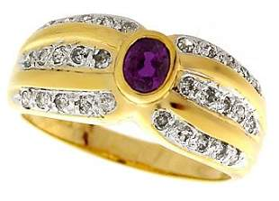 14YG .43ct Purple Sapphire .31 Diamond Ring
