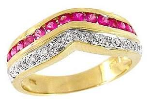 .70ct Pink Sapphire diamond wave band ring