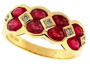 14YG 2ct Marquise Ruby Diamond Band ring