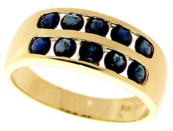 4: 14KY 1.25cttw Blue Sapphire channel band Ring