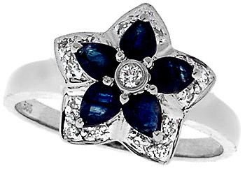 5: 14KW 1cttw Sapphire pear Diamond flower ring
