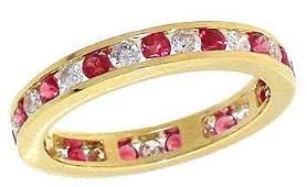 7: 14YG .85ct Burmese Ruby bezel estate ring