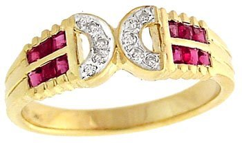8: 14YG .55ct Ruby channel diamond band ring