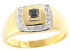 128: 14KY .22ct black white diamond mans ring