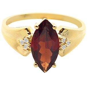 10C: 2ct garnet marquise diamond wide band ring