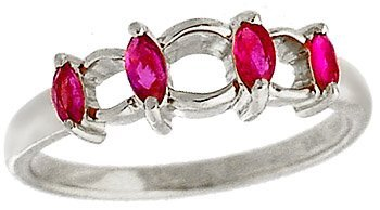 14B: 14WG .34ct Marquise Ruby Band ring