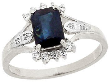 2100: 14KW 1.14ct Sapphire ecut .16 diamond ring