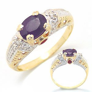 2101: 1ct sapphire ruby & dia Antique Style Ring