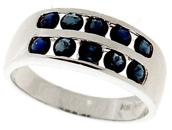 2102: 14KW 1.25ct Blue Sapphire channel band Ring