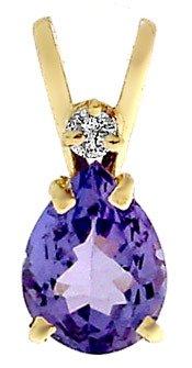 2105: 3/4ct Pear Tanzanite & Diamond Necklace Pendant