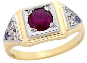 2116: 14YG .58ct Ruby Dia Sapphire estate Ring