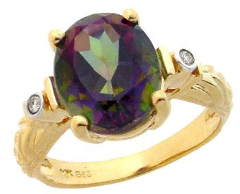 2117: 14KY 4.75ct mystic topaz oval floral Dia ring