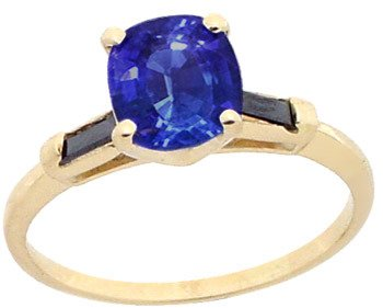 2156: 14KY 1.70ct Ceylon Sapphire .15ct Black Dia ring