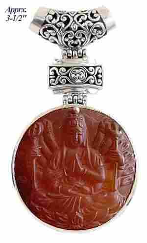 Large Silver Carved Carnelian Shiva Slide Pendant