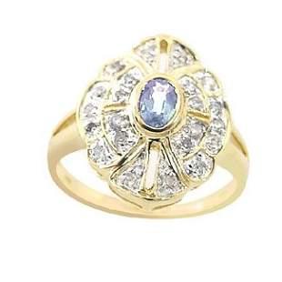 .30ct sapphire .31 diamond antique style ring