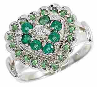 WG EmeraldWhite SaphTsavorite heart ring