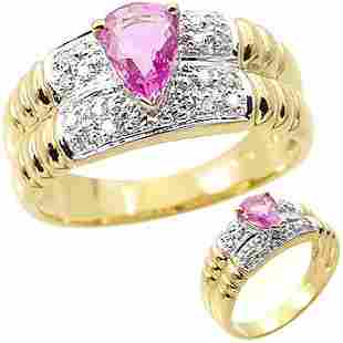 .70ct pink sapphire pear .09 dia band ring