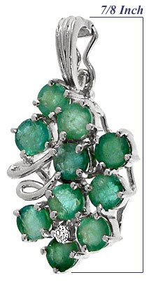 4150: WG 1.45ct Brazilian Emerald dia pendant
