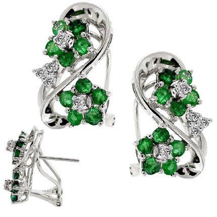 4151: WG 1.50ct Emerald Dia cluster flower earring