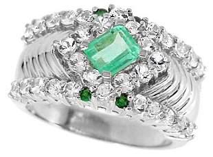 WG .66c Columbian Emerald Tsav/Wh Sapp ring
