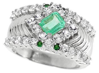 4152: WG .66c Columbian Emerald Tsav/Wh Sapp ring