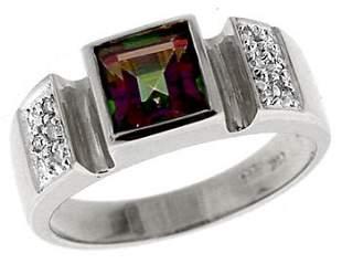 14KW1.35ct Mystic topaz princess .08dia ring