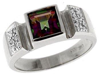 4153: 14KW1.35ct Mystic topaz princess .08dia ring