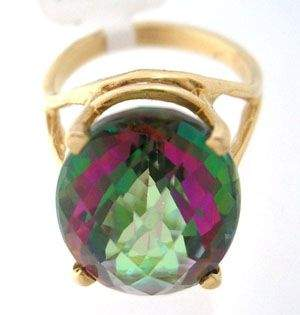 14KY 11ct Mystic Topaz oval checkerboard ring