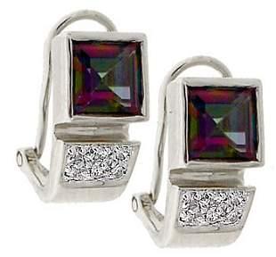 14KW 2.7ct Mystic topaz square .08dia earring
