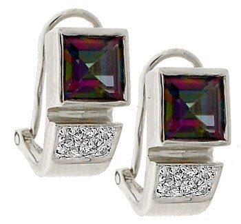 4155: 14KW 2.7ct Mystic topaz square .08dia earring