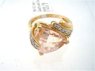 14KY Rose Quartz and Diamond ring
