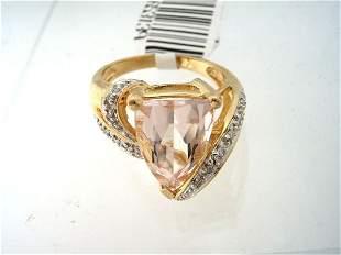 14KY 3ct Morganite trillion diamond ring
