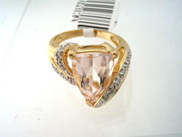 4157: 14KY 3ct Morganite trillion diamond ring
