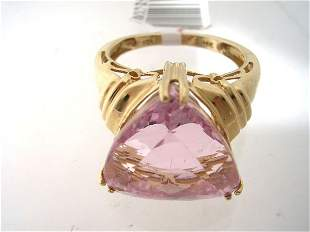 14KY 8ct Kunzite trillion ring
