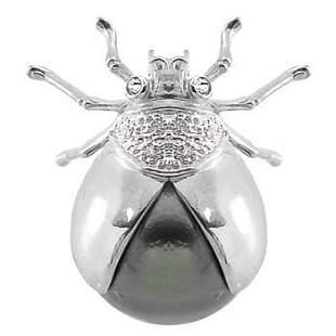 WG 10/11mm Tahitian Pearl Diamond Ladybug Pin