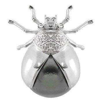 4160: WG 10/11mm Tahitian Pearl Diamond Ladybug Pin