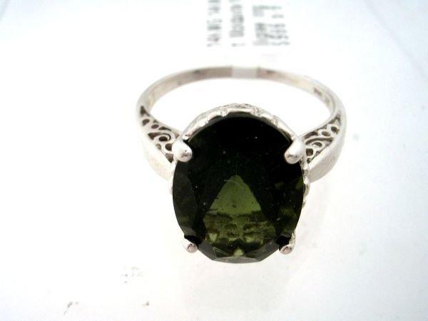 4163: 14KW 4.50ct Moldavite filligree ring