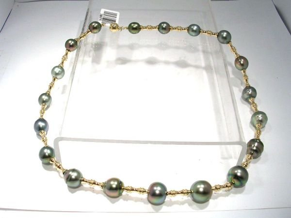 4218: 14KY 8.5/13mm Tahitian 29 pearl trumpet necklace