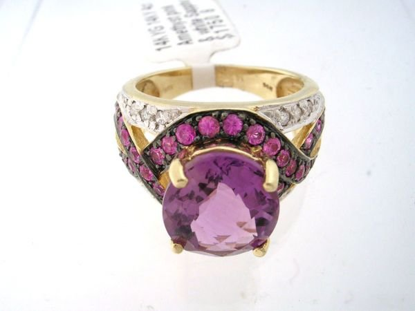 4230: 14KY 4cttw Amethyst mix band ring