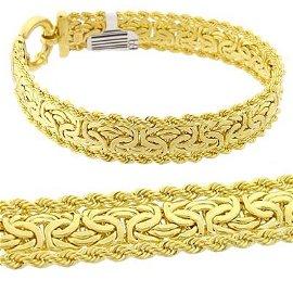 4288: 18kt Italian byzantine bracelet 7.25in