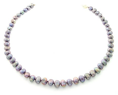 4168A: 8/8.5mm grey pearl nugget 20inch necklace