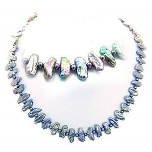Black biwa style stick pearl 16inch necklace