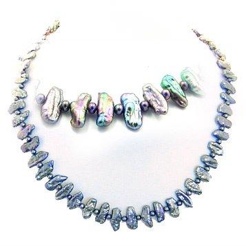 4168B: Black biwa style stick pearl 16inch necklace