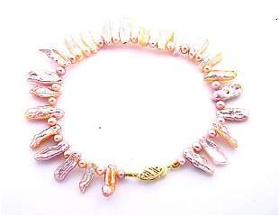 Pink biwa style stick pearl 8 inch bracelet