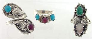 Lot of 3 Sterling Silver Gemstone Rings size 8