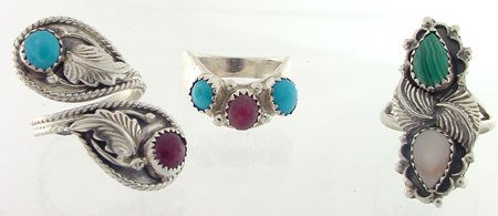 4169A: Lot of 3 Sterling Silver Gemstone Rings size 8