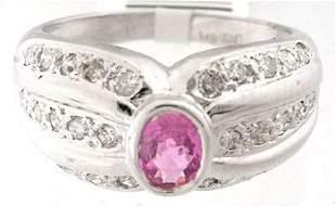 101 .32ct Pink Sapphire & .30 Diamond Ring Band