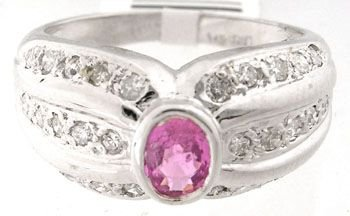 5152: 101 .32ct Pink Sapphire & .30 Diamond Ring Band